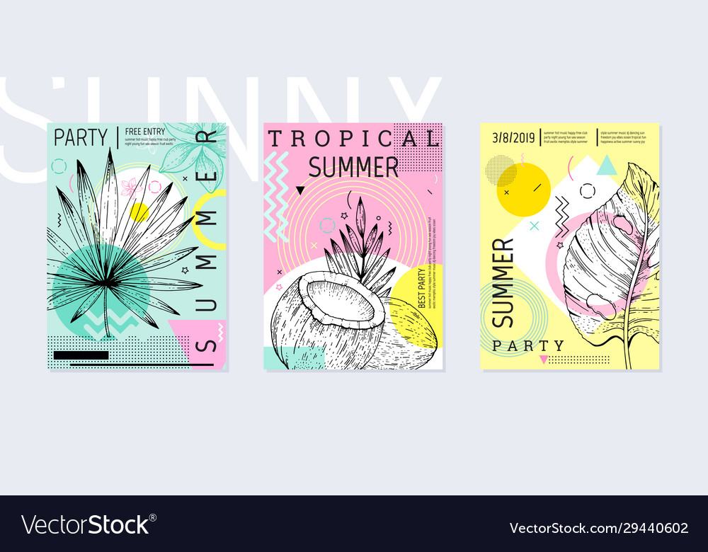 Summer party poster set geometric memphis style