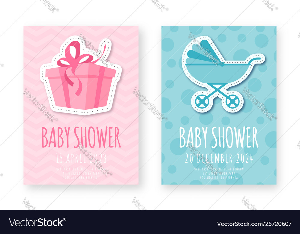 Bashower greeting card template set cute