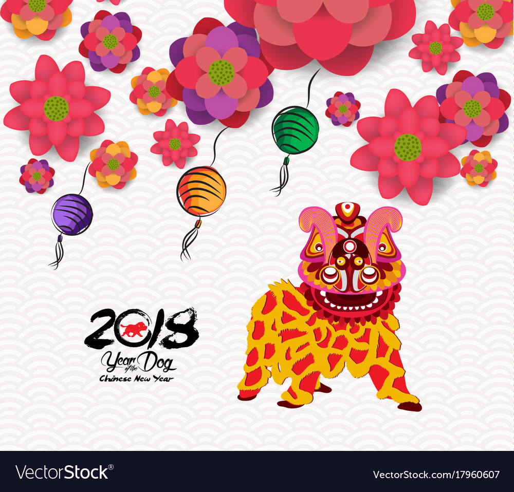 Chinese new year card with plum blossom and lion Vector Image