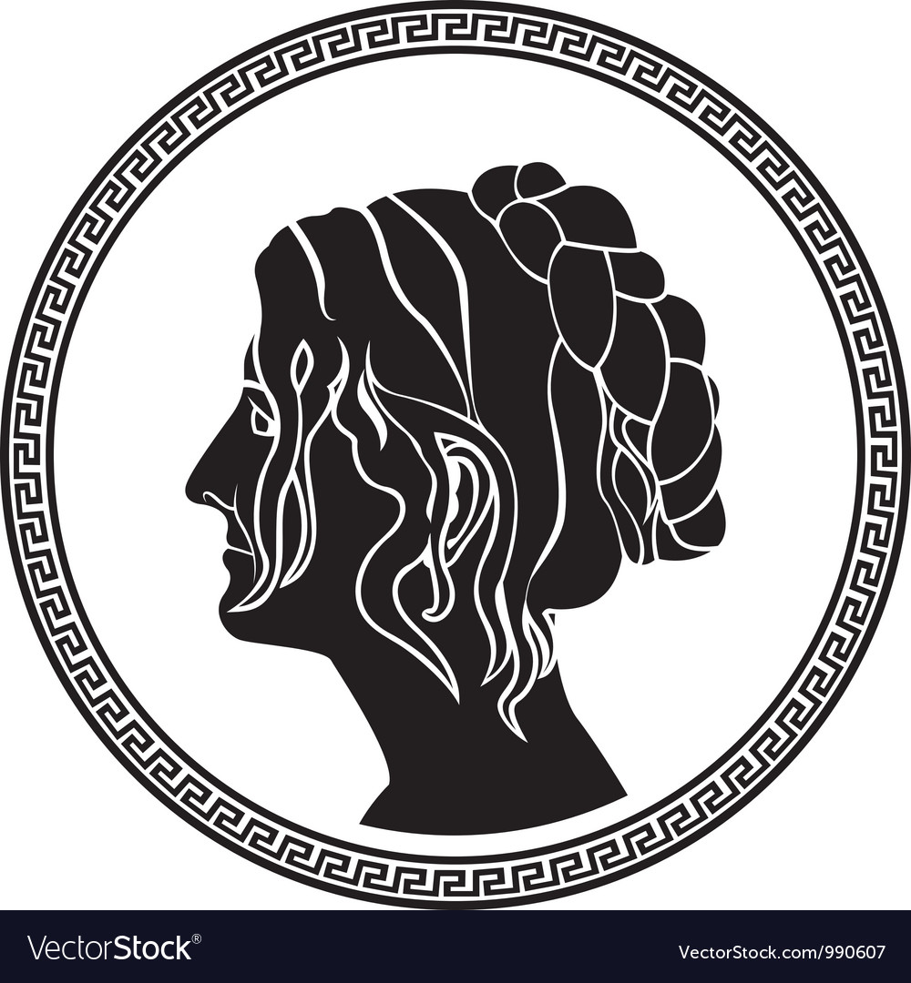 Greek woman stencil vector image