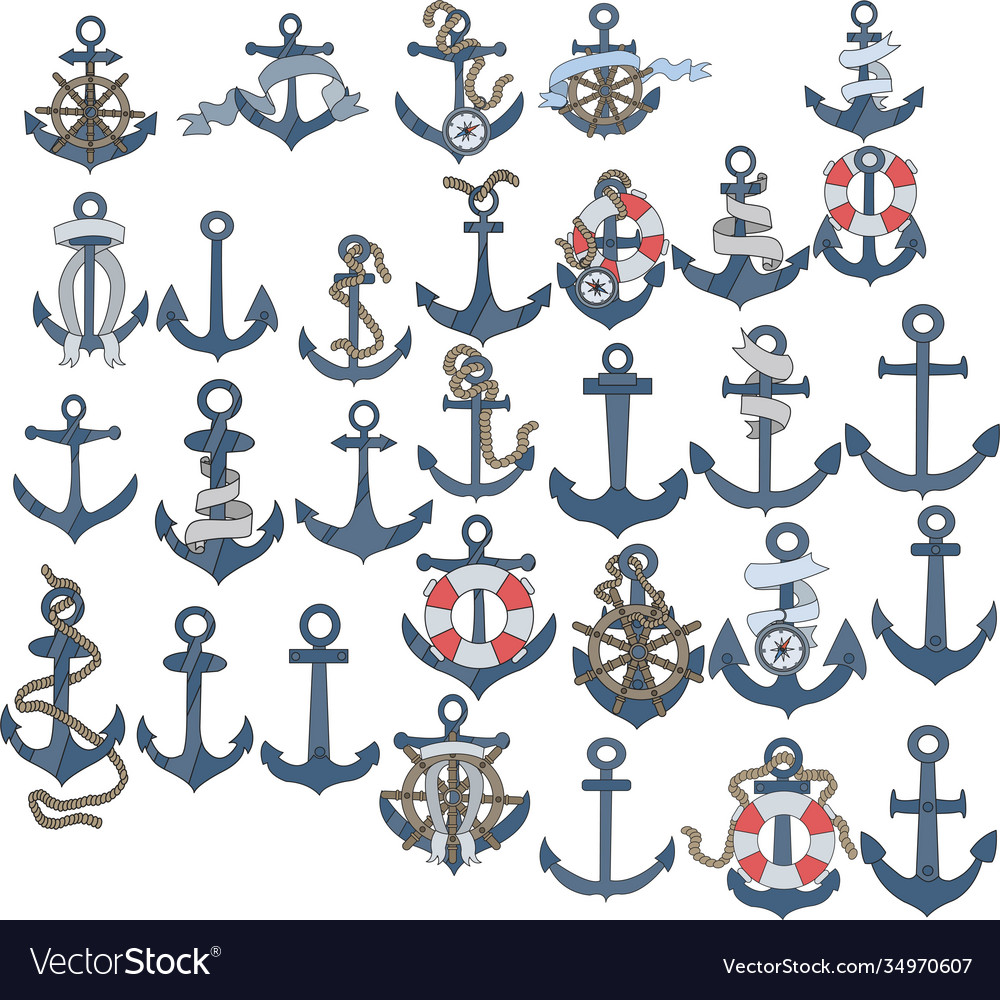 Marine or nautical themed ships anchor icons with