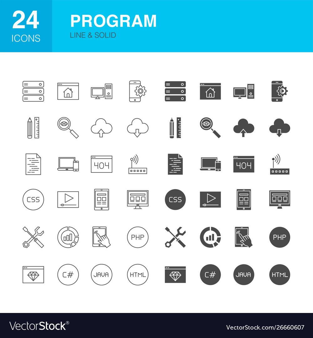 Program line web glyph icons