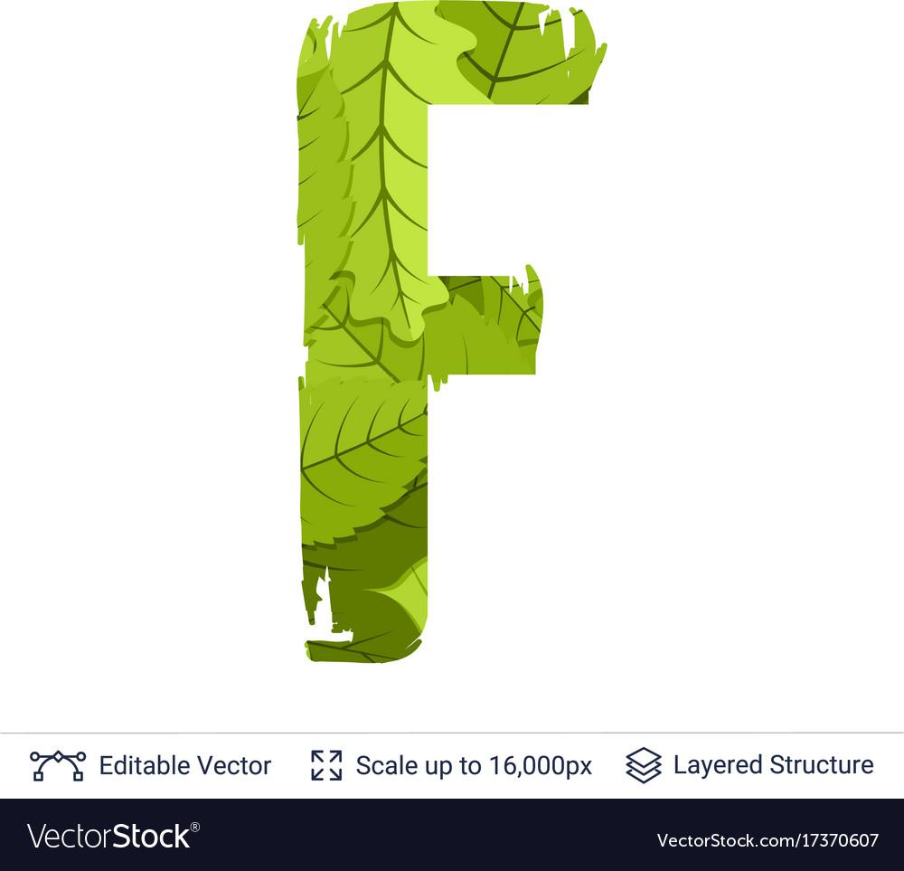 Spring green bright leaves letter