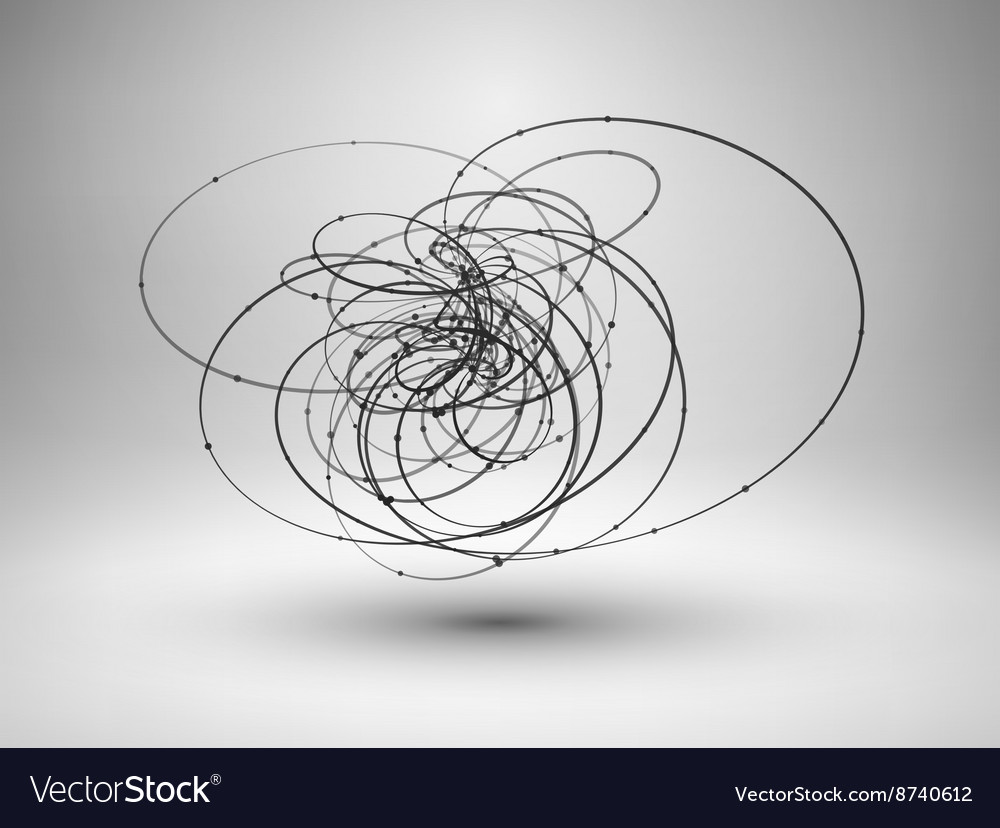 Abstract wire element with connected lines and Vector Image
