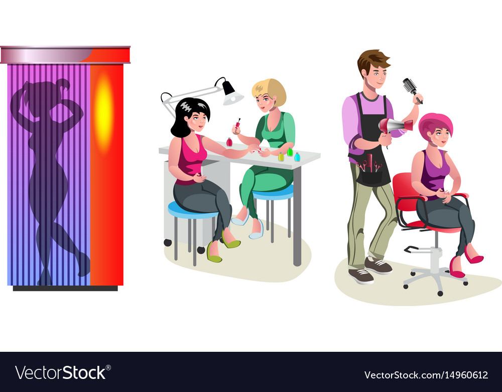 Beauty salon haircut manicure and solarium vector image