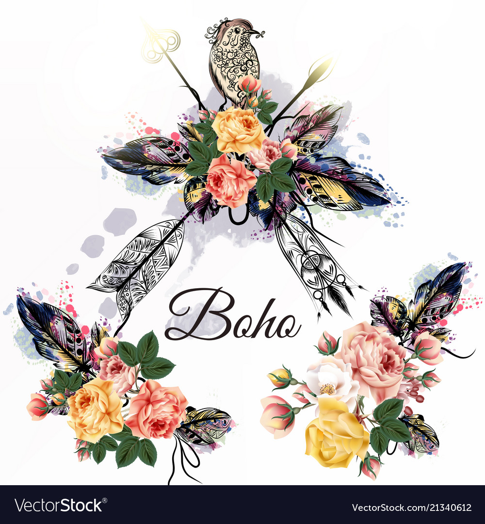 Boho tribal design with arrows roses and birds