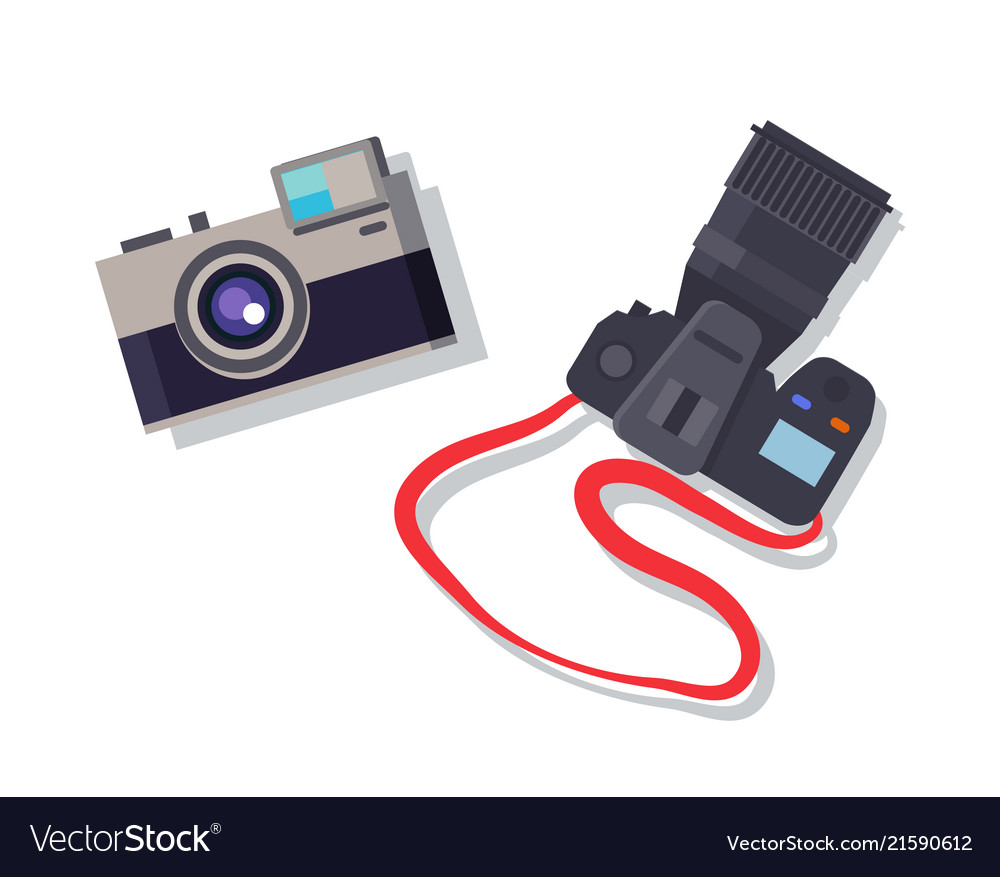 Cameras set isolated colorful