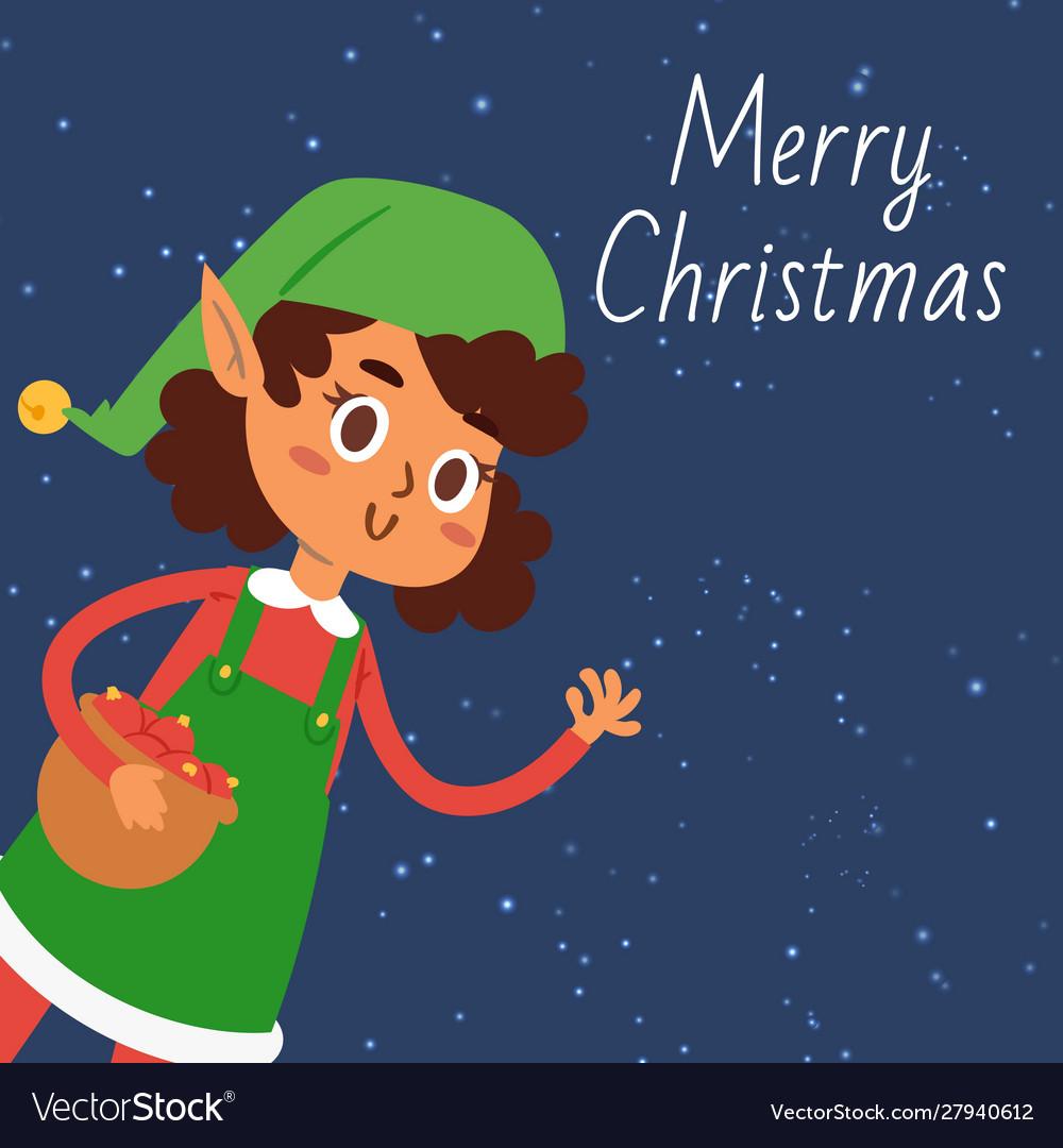Christmas elf girl cartoon