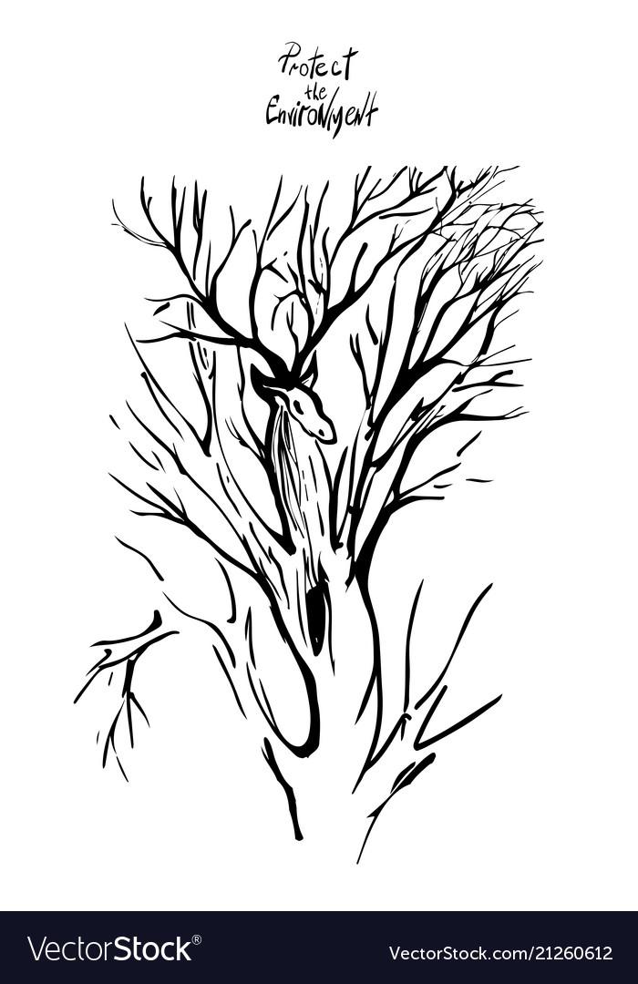Deer and tree silhouette