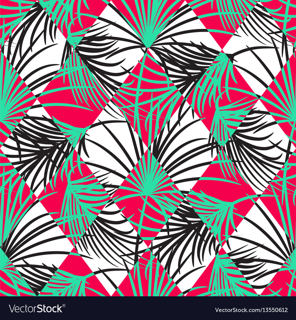 Green and red palm leaves and harlequin rhombs