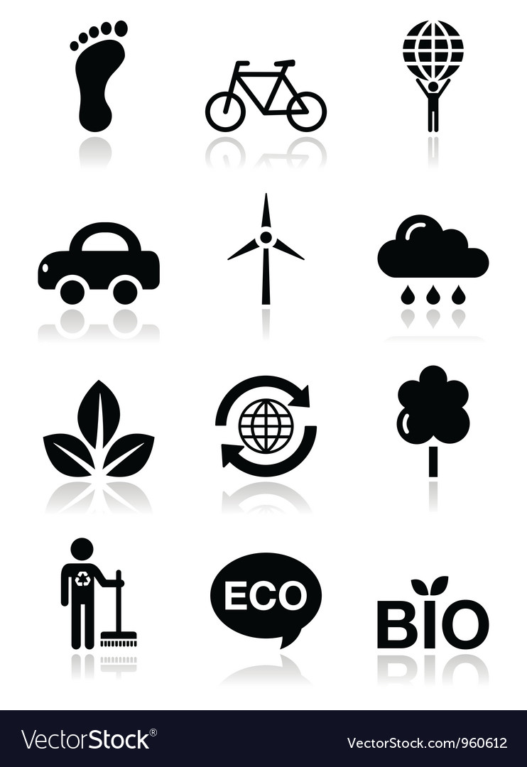 Green ecology black clean icons set vector image