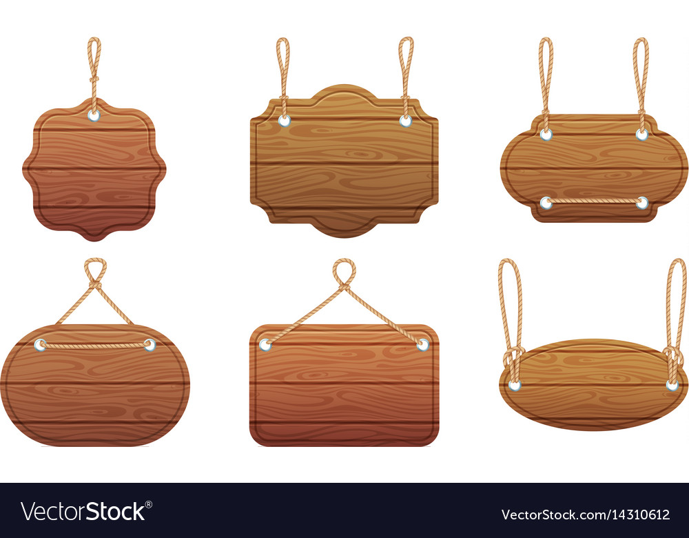 Hanging signs with wood texture isolate on white vector image