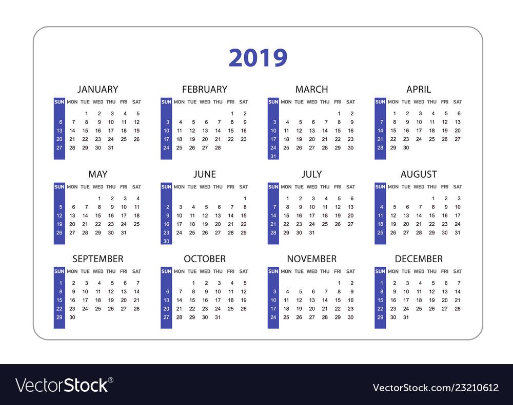 Horizontal pocket calendar on 2019 year simple