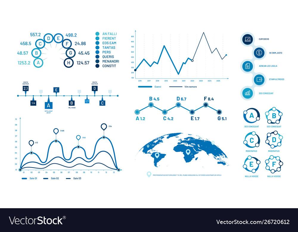Infographics graph charts histogram data graphs