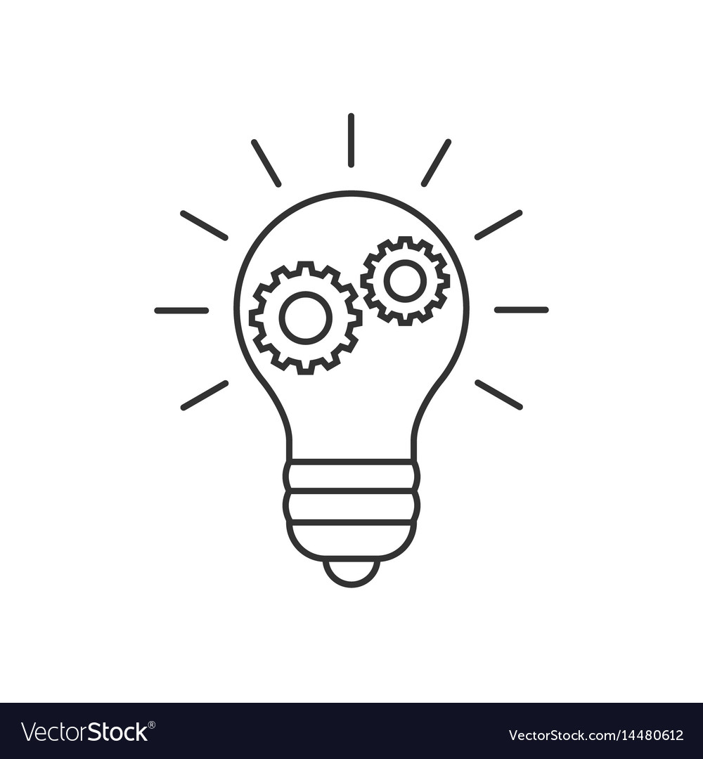 Lightbulb with cogs line icon vector image