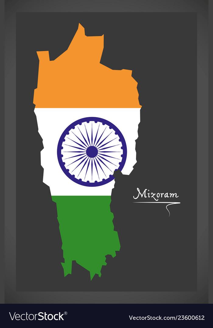 Mizoram map with indian national flag