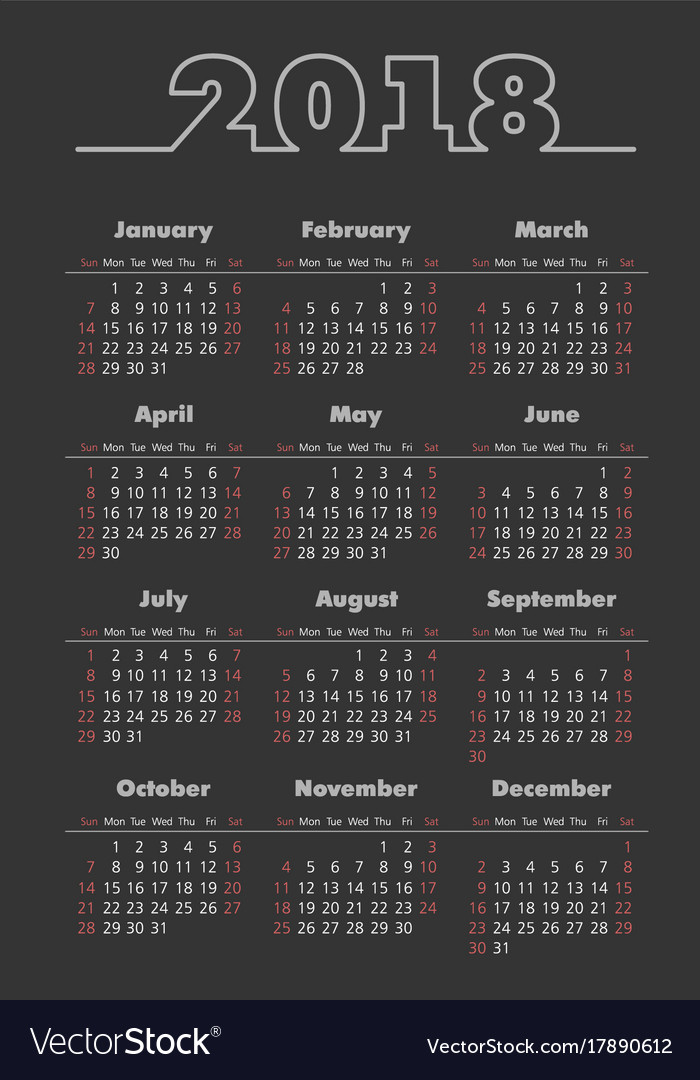 pocket 2018 year dark background calendar vector image