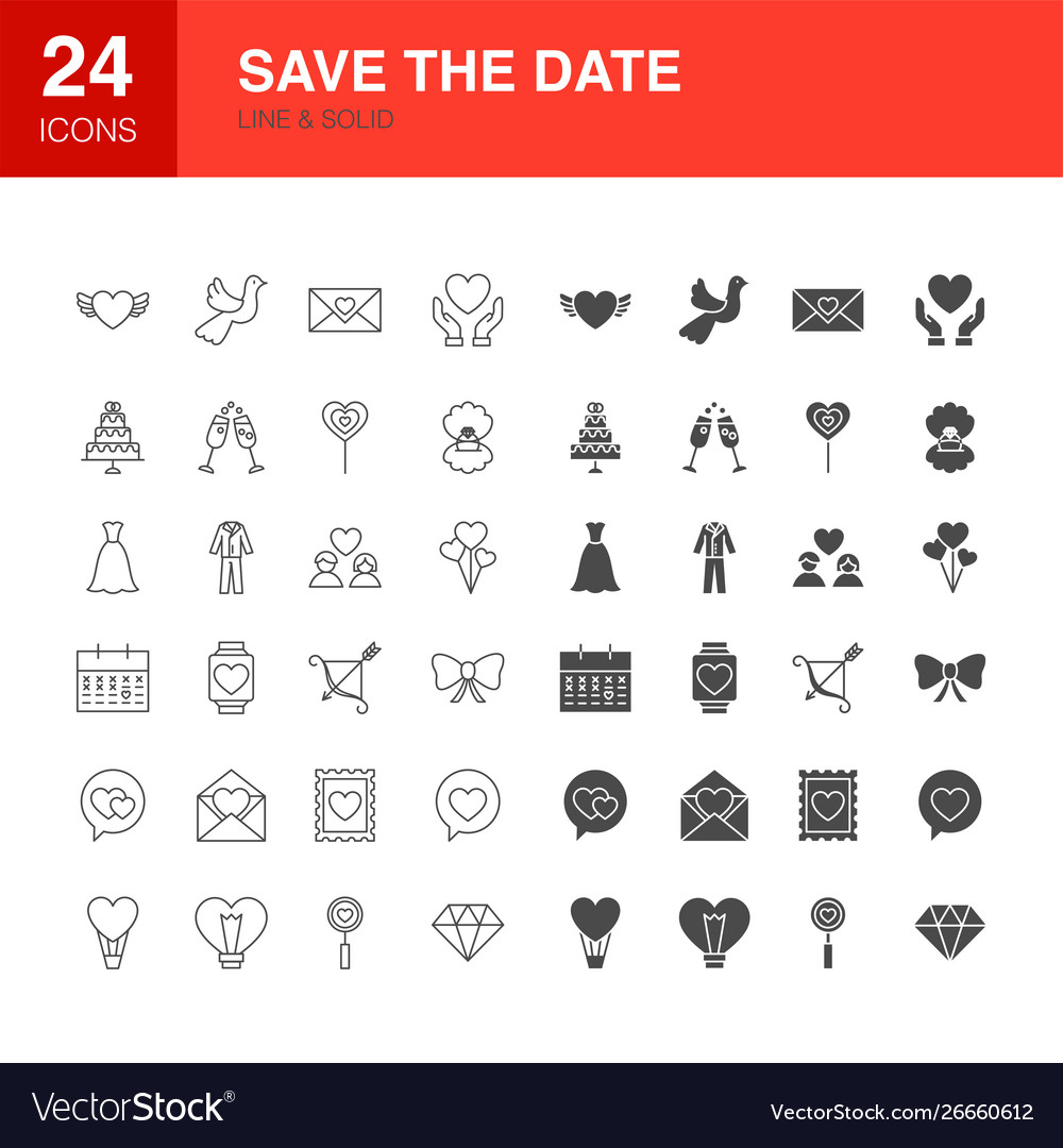 Save date line web glyph icons