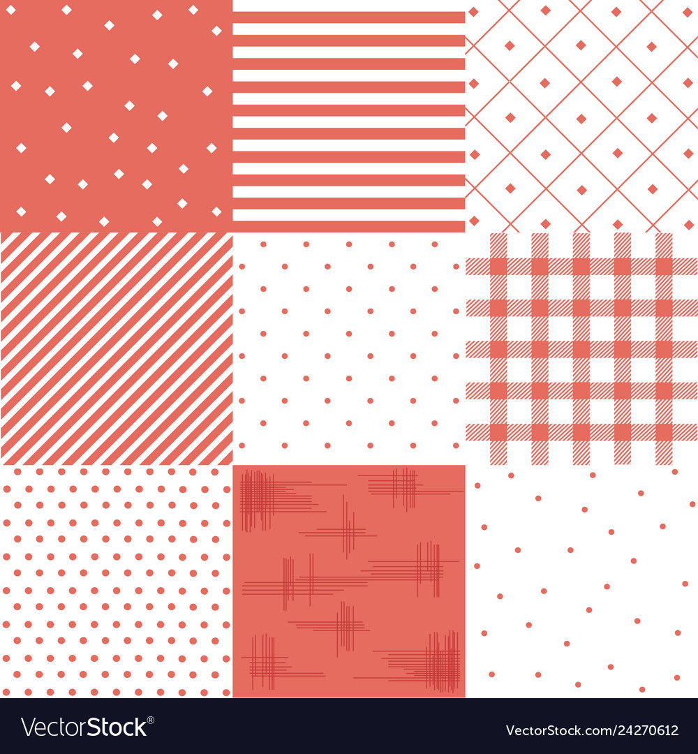 Set red cute seamless patterns