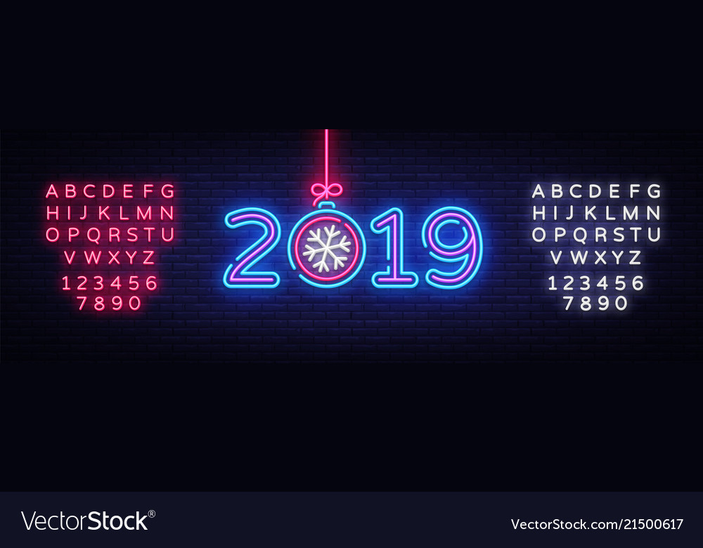 2019 happy new year neon text 2019 new year