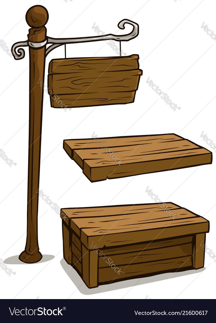Cartoon wooden board sign and box set