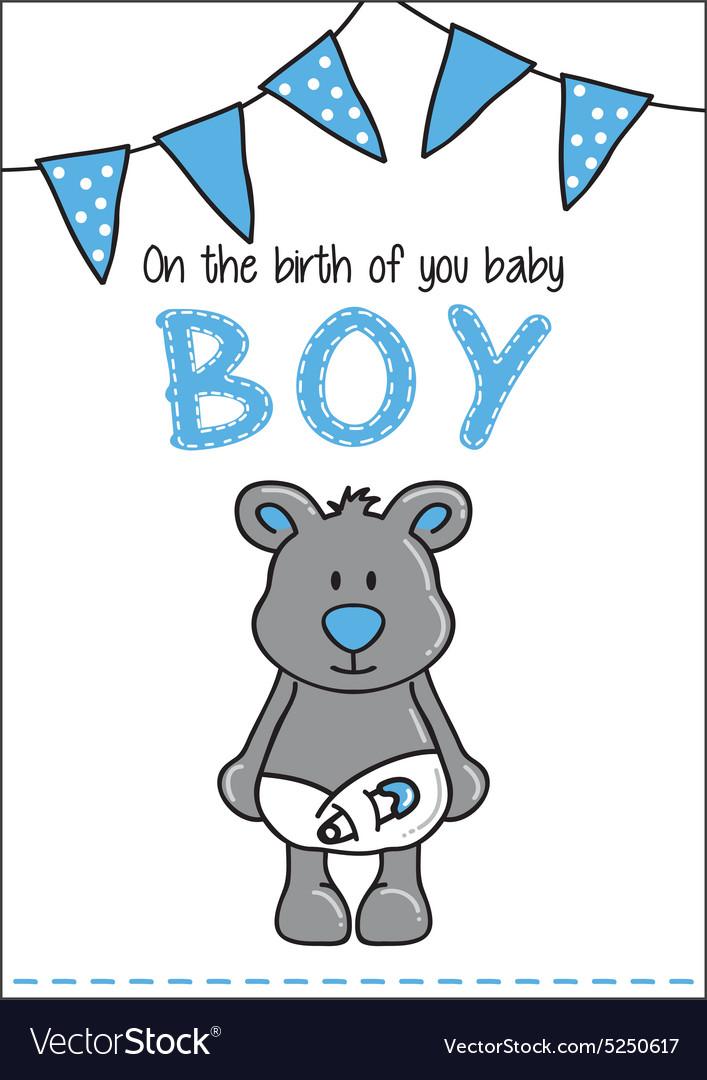 Cute bear baby card vector image