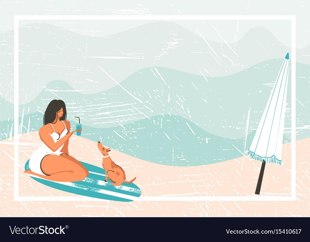 Hand drawn abstract cartoon summer time fun vector image