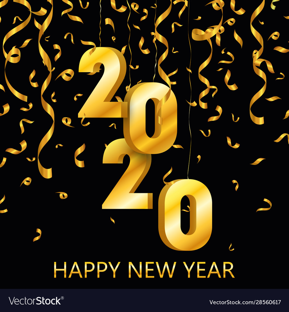 Happy new year 2020 gold festive numbers design