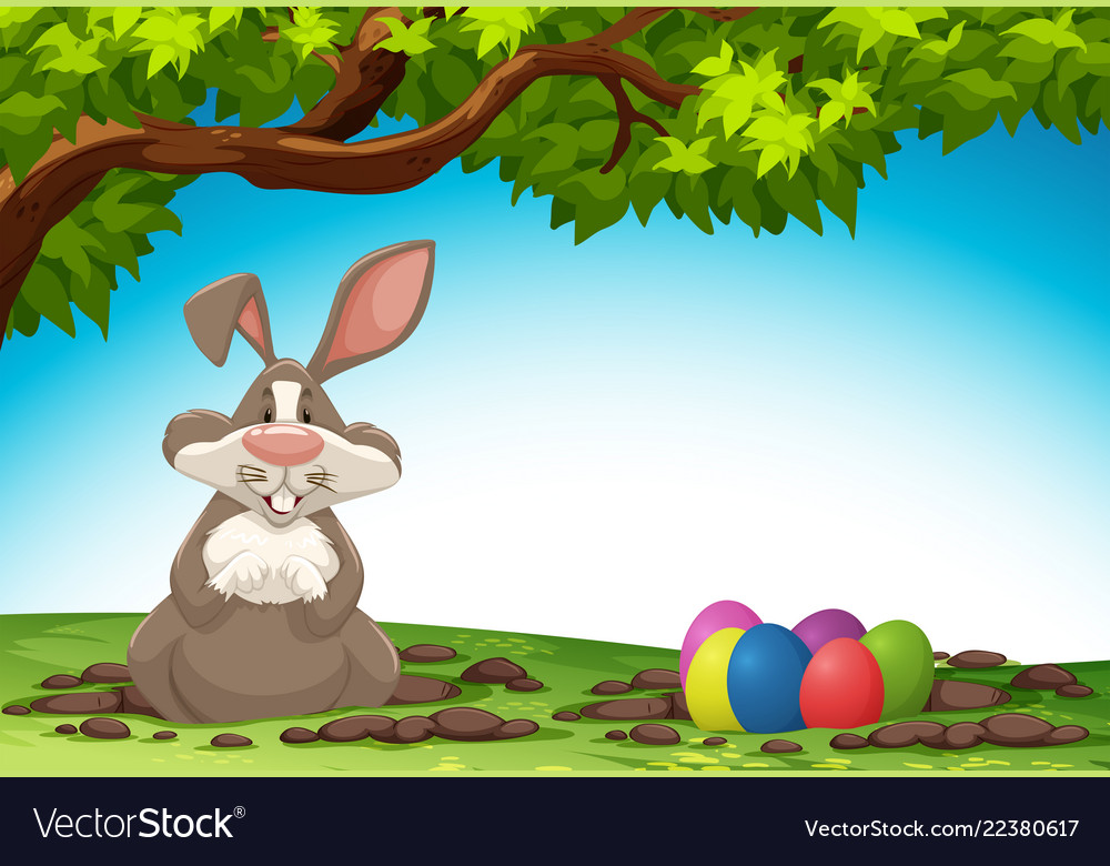 Rabbit and easter egg in nature