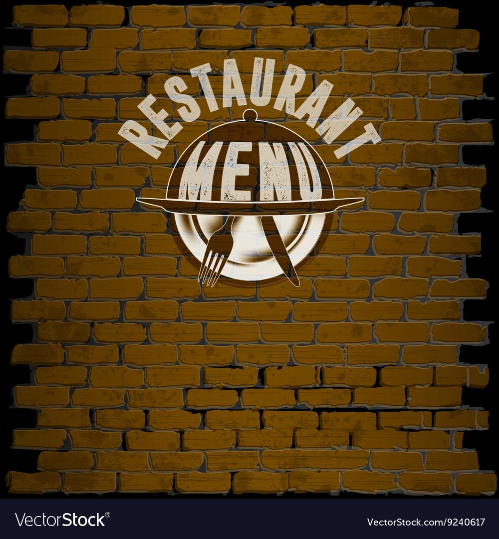 Restaurant menu template on a brick background