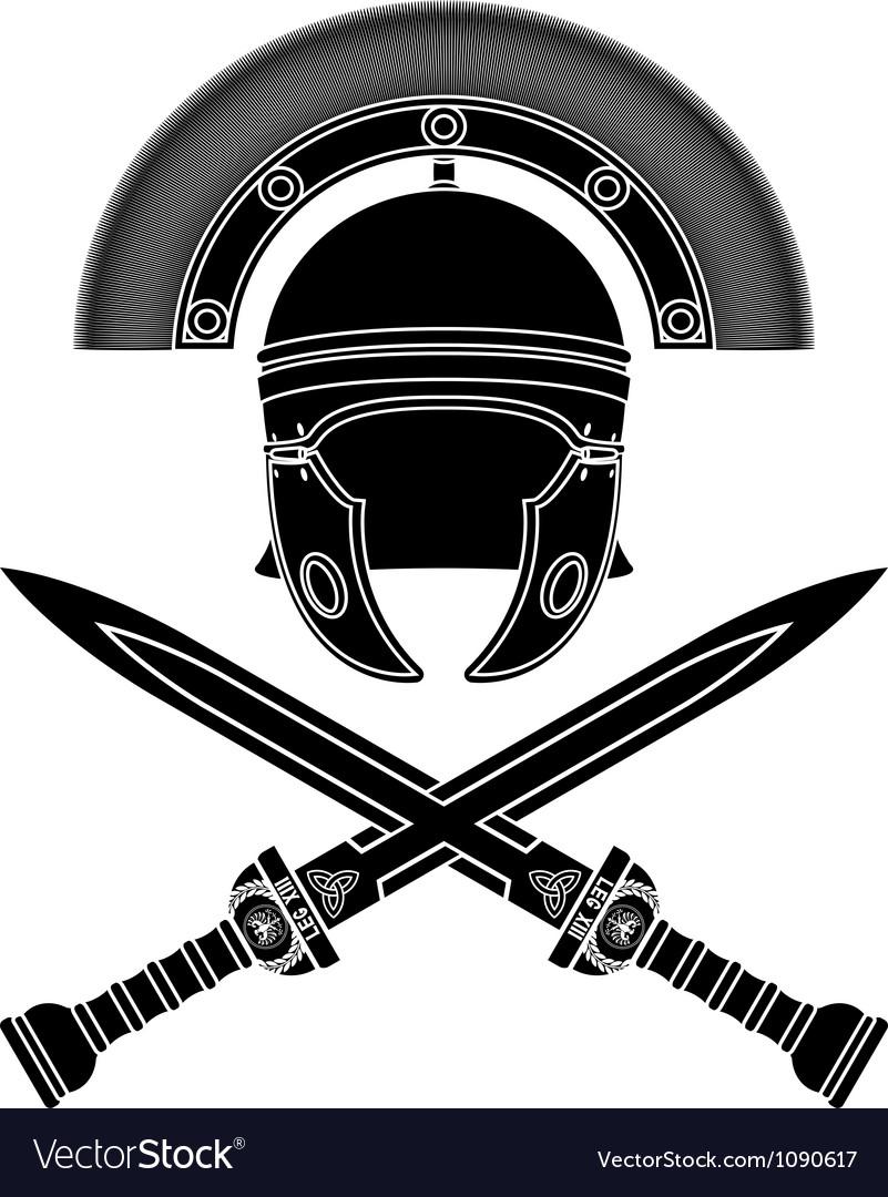 Roman helmet and swords third variant