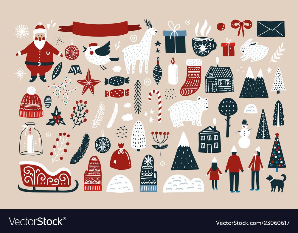 Set elements for christmas design