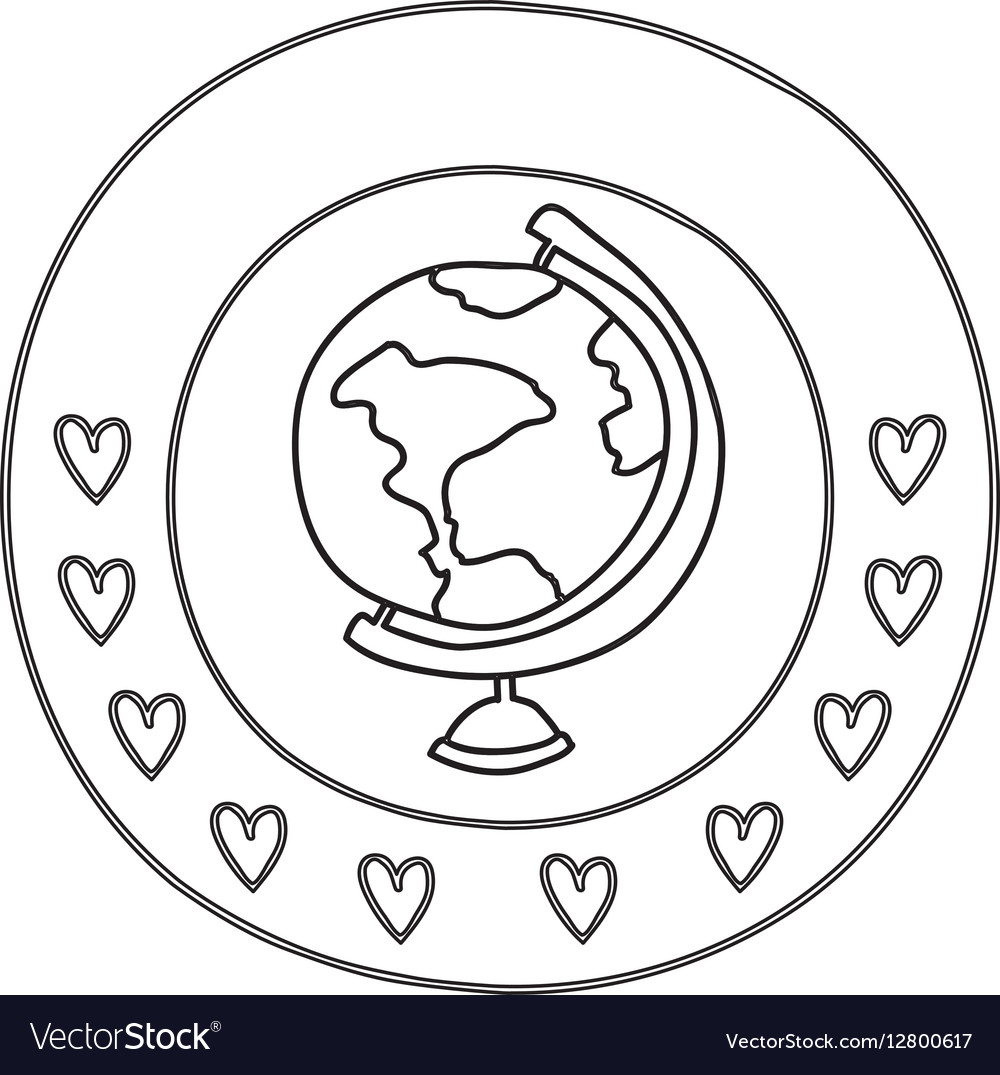 Silhouette circular border with hearts and map of