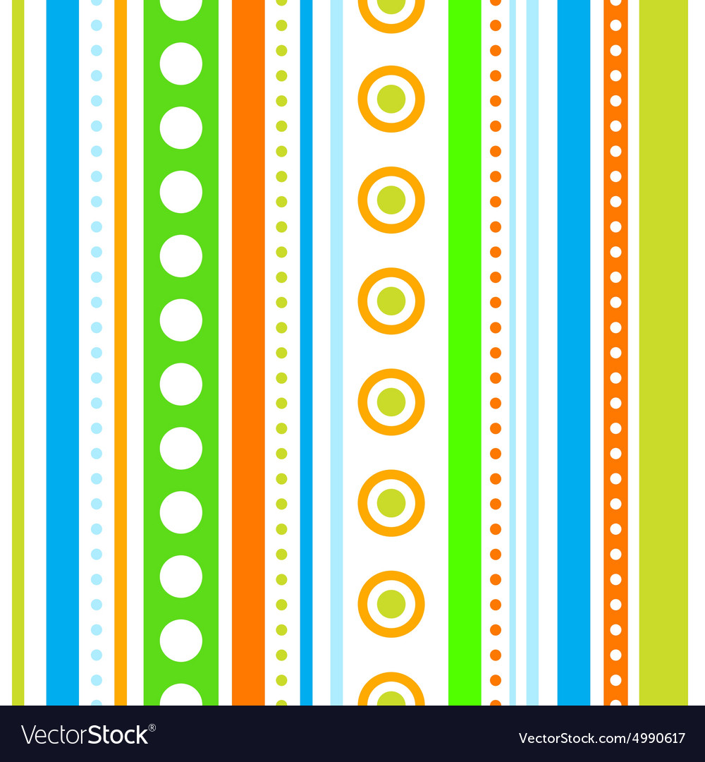 Vertical stripes and circles seamless vector image