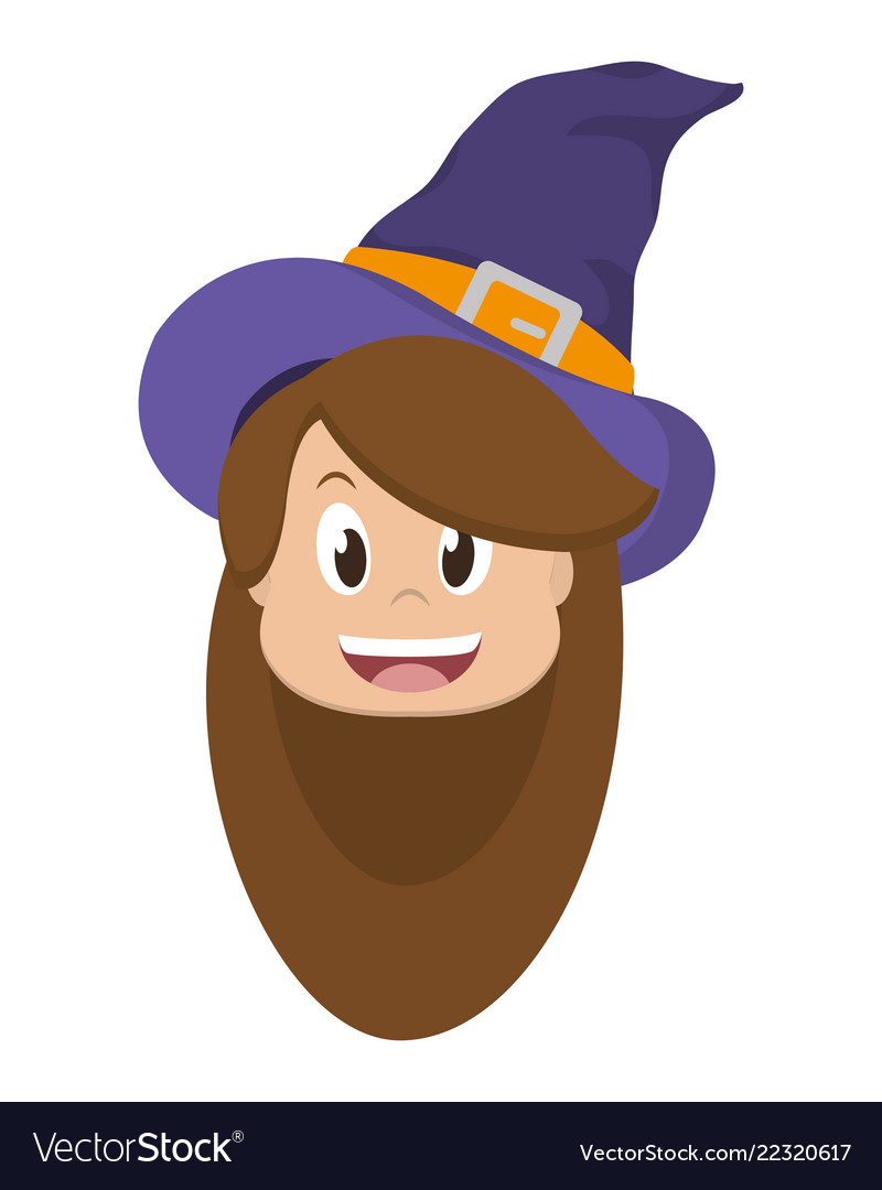 Halloween Cartoon Witch Face.Witch Girl Face