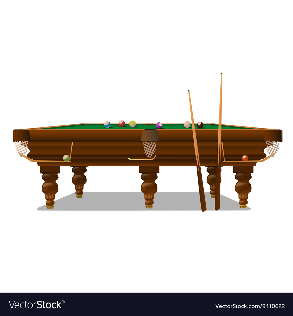 Billiard table with cues on a white background