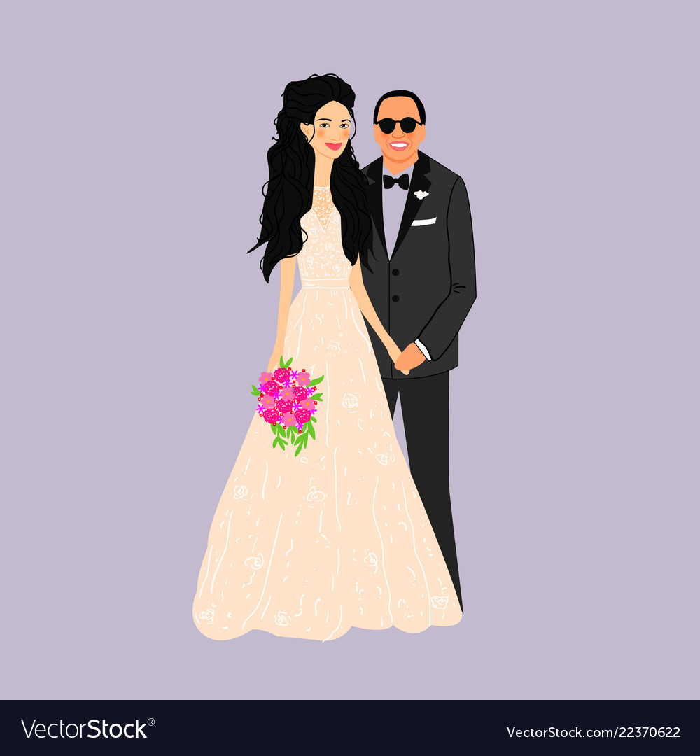 Bride and groomcouple wedding card with the
