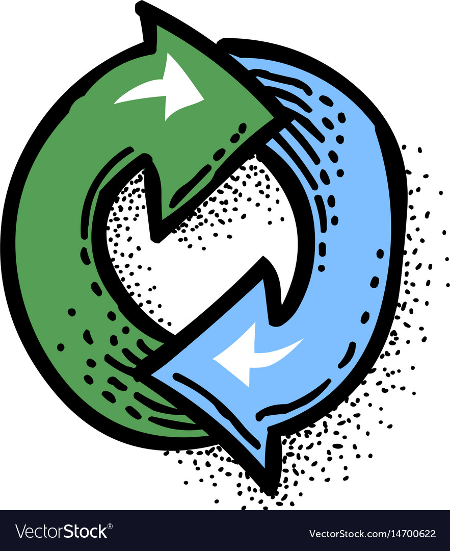 Cartoon image of update icon refresh symbol