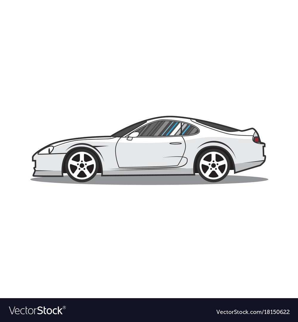 Cartoon Japan Sport Car Side View Royalty Free Vector Image