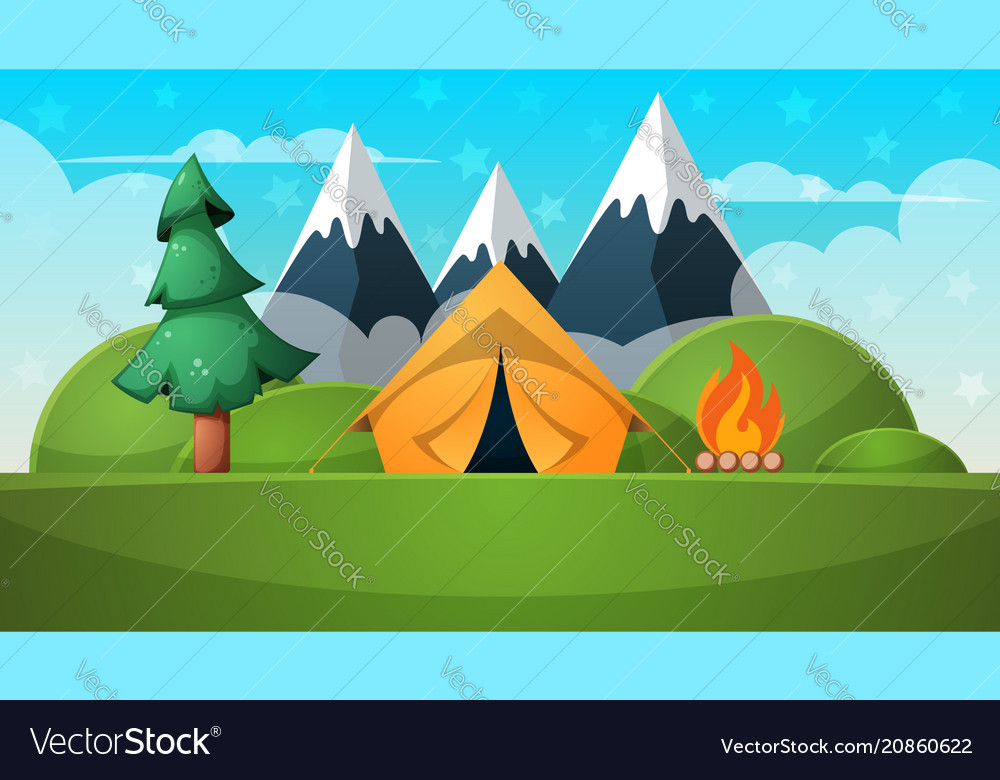 Cartoon summer landscape tent fire mountain