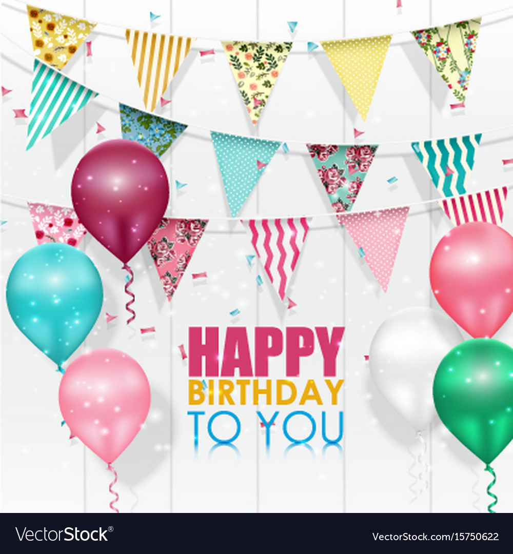 Color balloons happy birthday on white background vector image