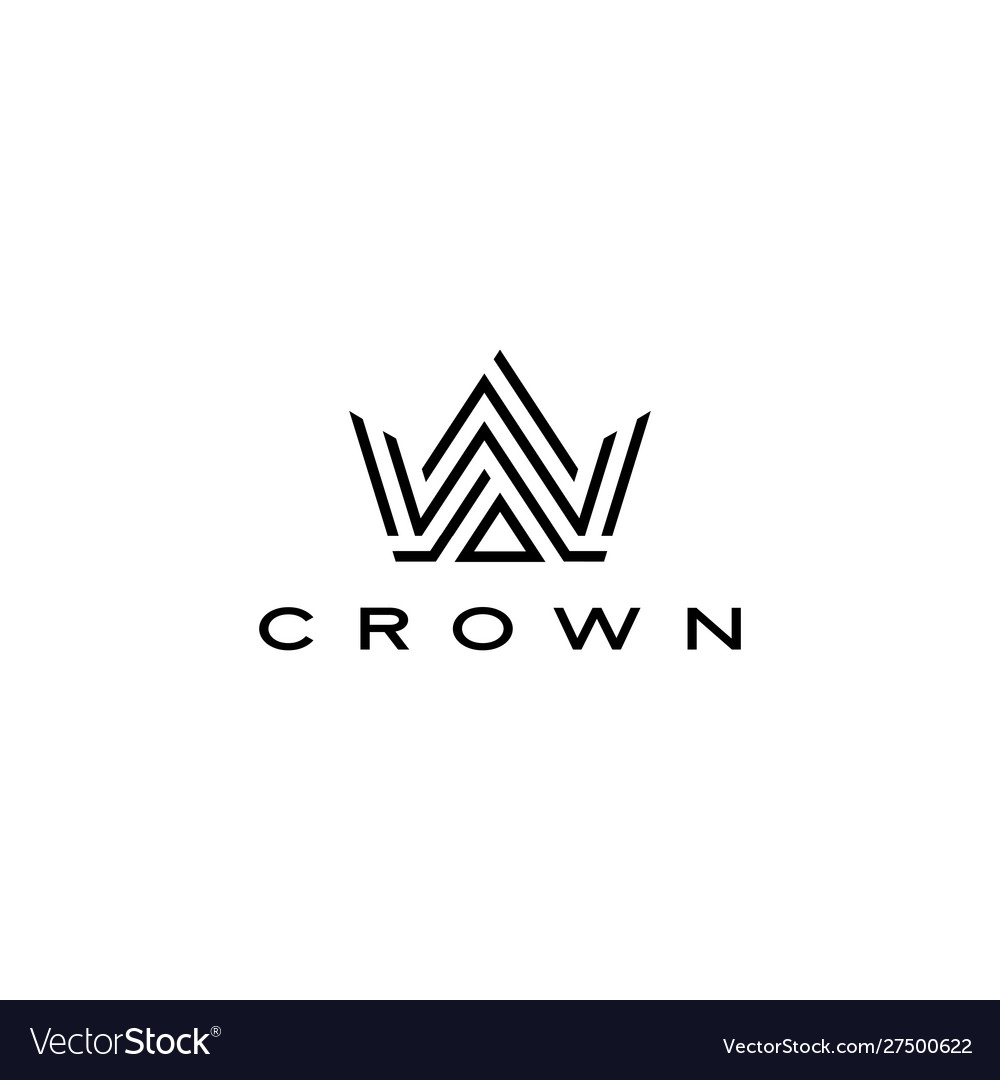 Crown logo icon line stripes style