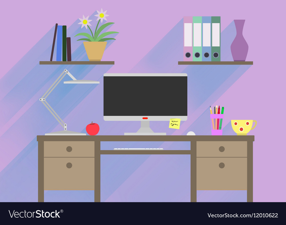 Flat design interior concept of work place with