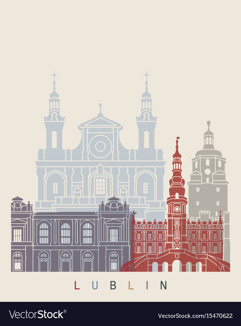 Lublin skyline poster vector image