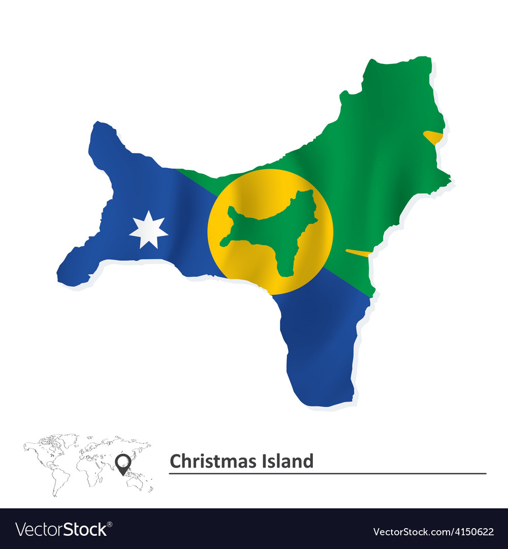Christmas Island Flag.Map Of Christmas Island With Flag