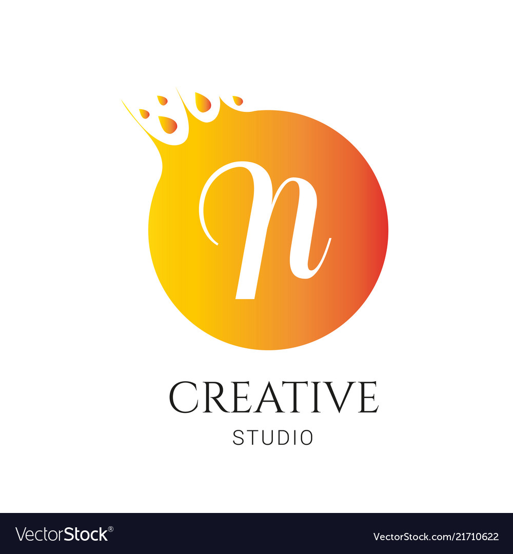 N letter logo design n icon colorful and modern