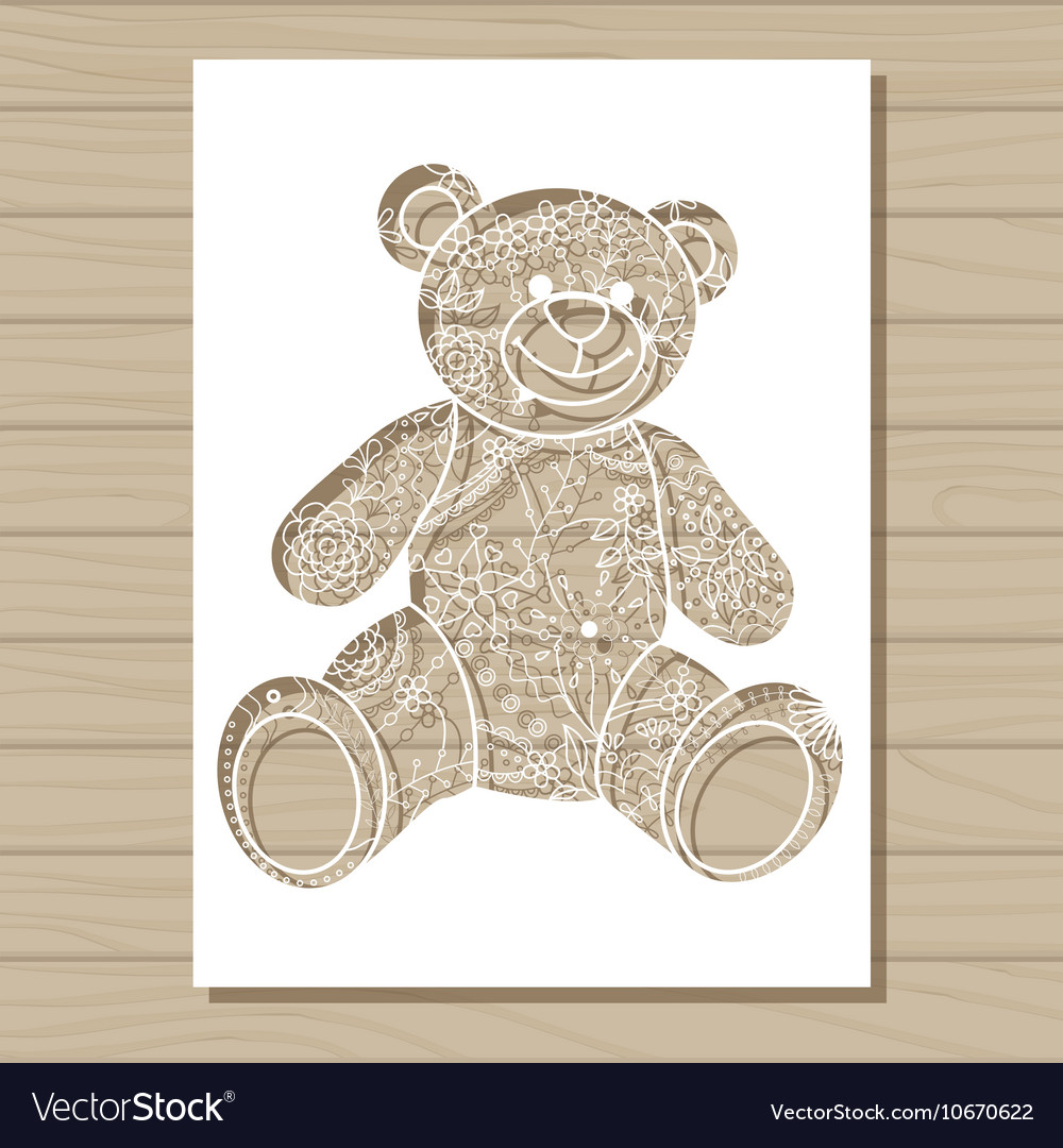 Stencil Template Of Bear On Wooden Background