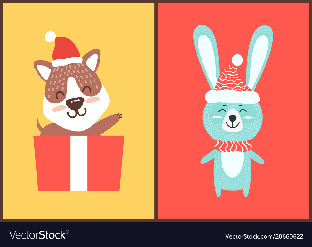 Teddy bear and rabbit in santa hats christmas card