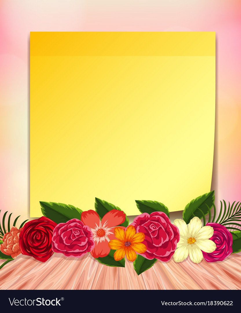 Yellow Notepad And Colorful Flowers Royalty Free Vector