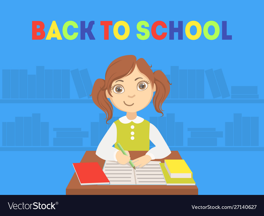 Back to school banner template with cute girl